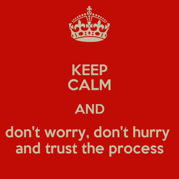 KEEP CALM AND don't worry, don't hurry  and trust the process