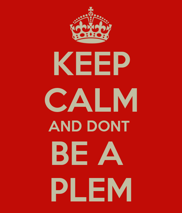KEEP CALM AND DONT  BE A  PLEM