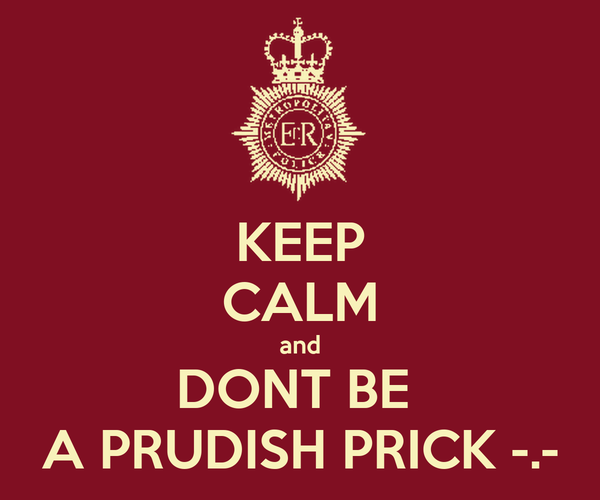KEEP CALM and DONT BE  A PRUDISH PRICK -.-