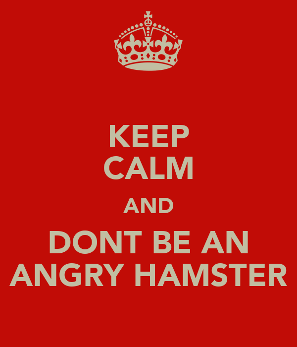 KEEP CALM AND DONT BE AN ANGRY HAMSTER
