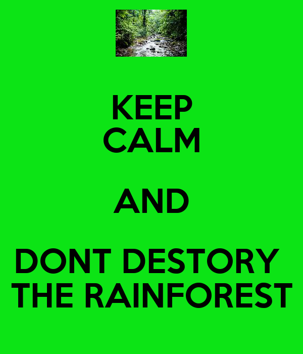 KEEP CALM AND DONT DESTORY  THE RAINFOREST