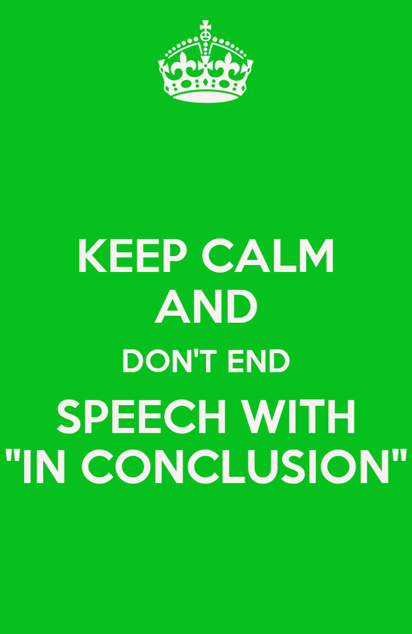 how to start a conclusion in a speech