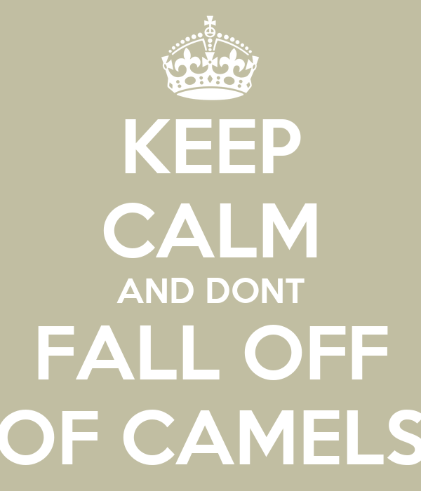 KEEP CALM AND DONT FALL OFF OF CAMELS