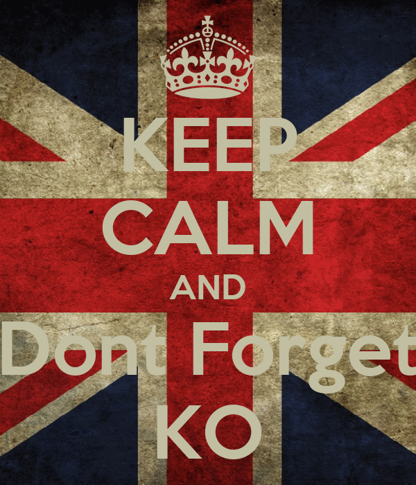 KEEP CALM AND Dont Forget KO