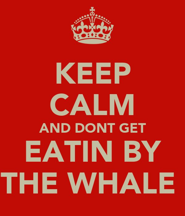 KEEP CALM AND DONT GET EATIN BY THE WHALE