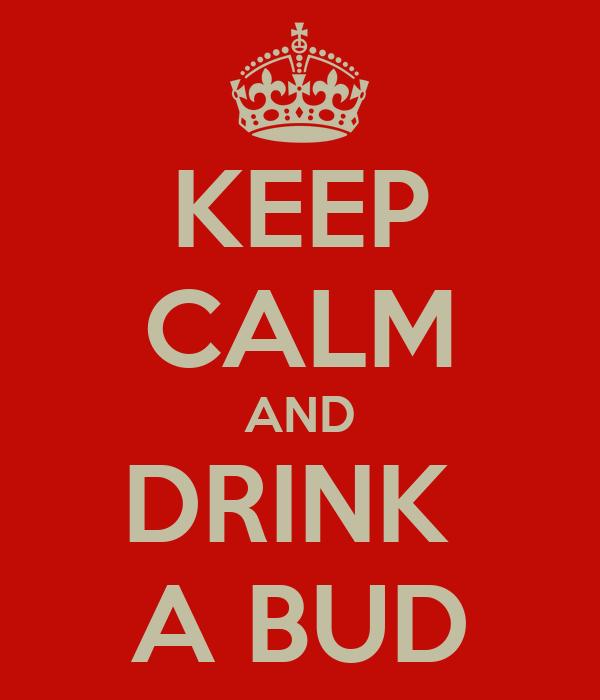 KEEP CALM AND DRINK  A BUD