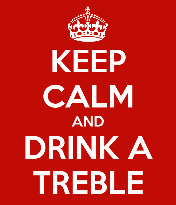 KEEP CALM AND DRINK A TREBLE