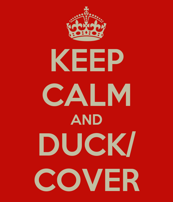 KEEP CALM AND DUCK/ COVER