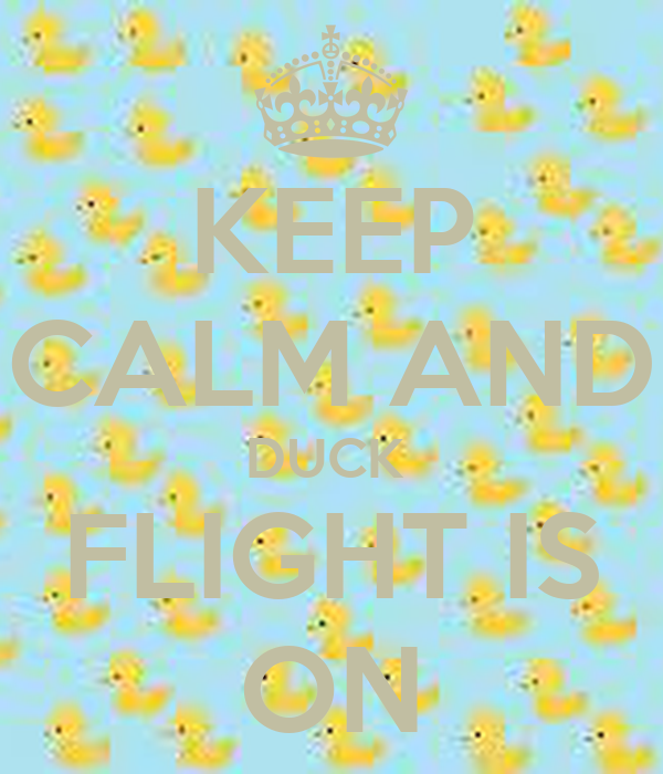 KEEP CALM AND DUCK  FLIGHT IS ON