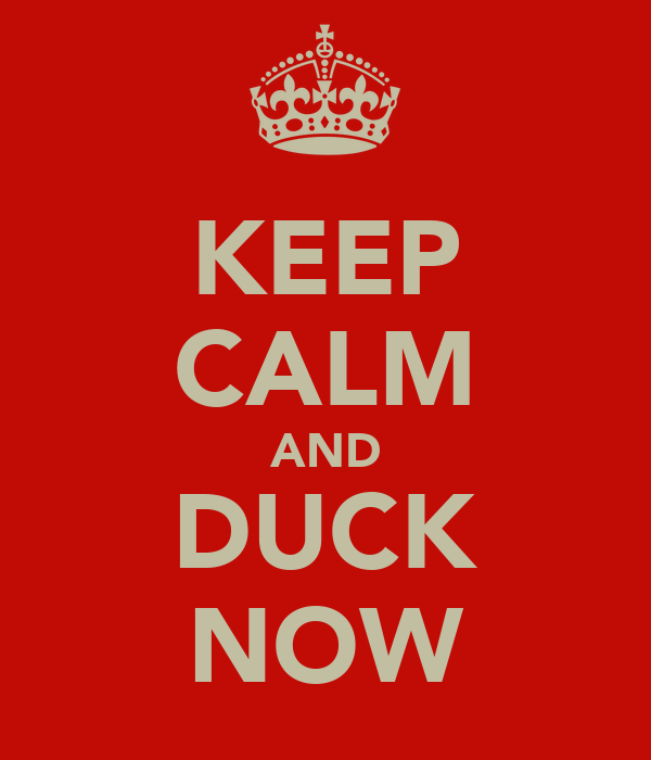 KEEP CALM AND DUCK NOW