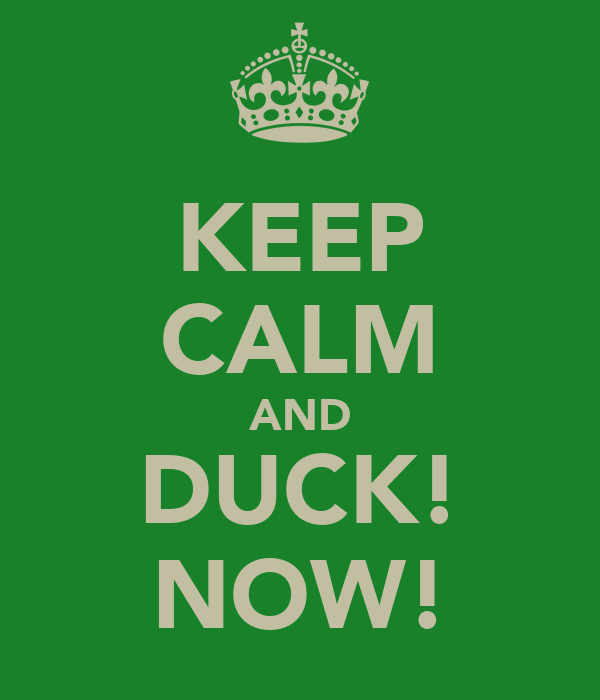 KEEP CALM AND DUCK! NOW!