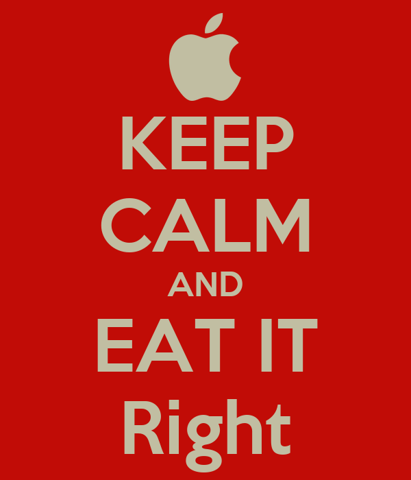 KEEP CALM AND EAT IT Right