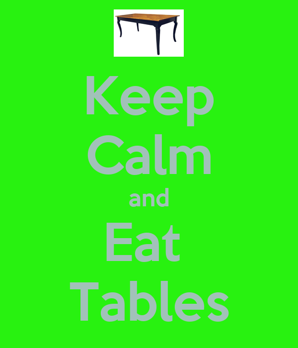 Keep Calm and Eat  Tables