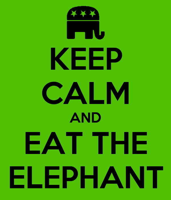 KEEP CALM AND EAT THE ELEPHANT