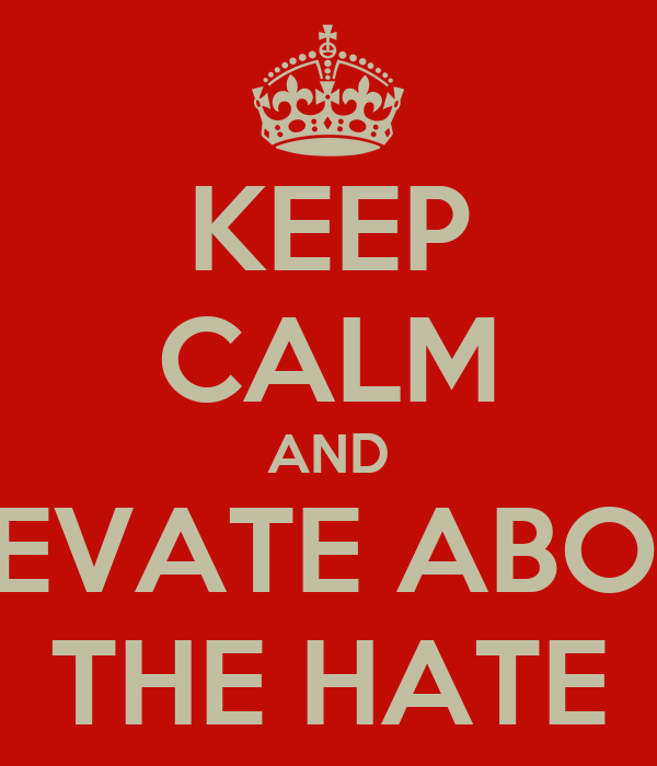 KEEP CALM AND ELEVATE ABOVE THE HATE