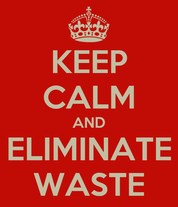 KEEP CALM AND ELIMINATE WASTE