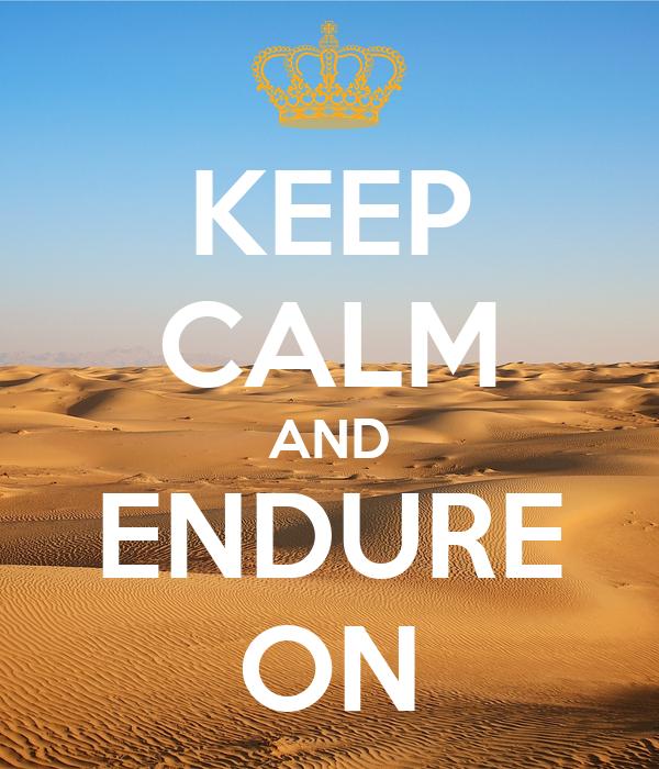 KEEP CALM AND ENDURE ON