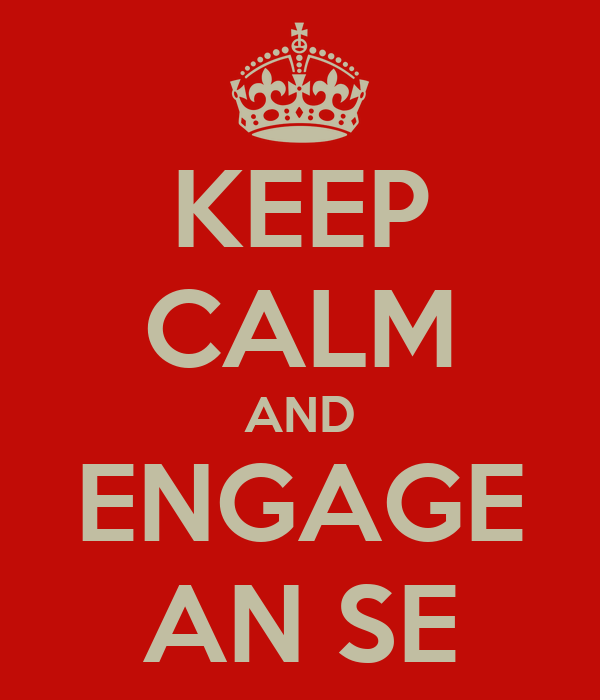 KEEP CALM AND ENGAGE AN SE