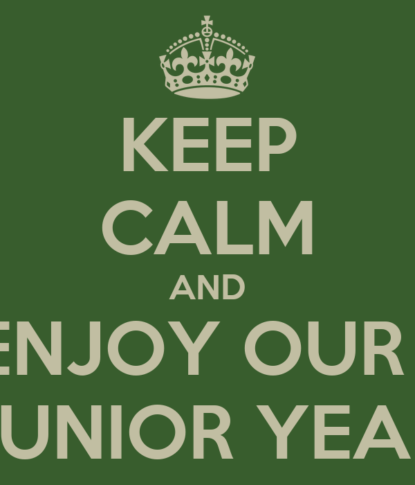 KEEP CALM AND ENJOY OUR   JUNIOR YEAR