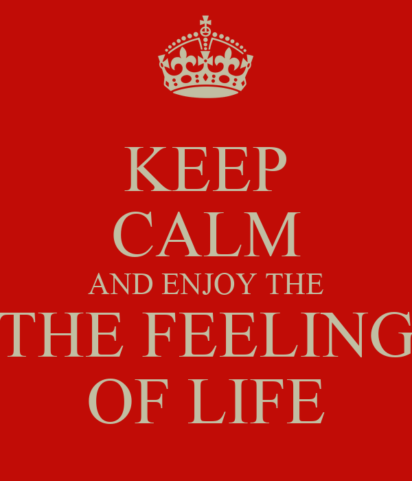 KEEP CALM AND ENJOY THE THE FEELING OF LIFE