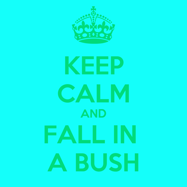 KEEP CALM AND FALL IN  A BUSH