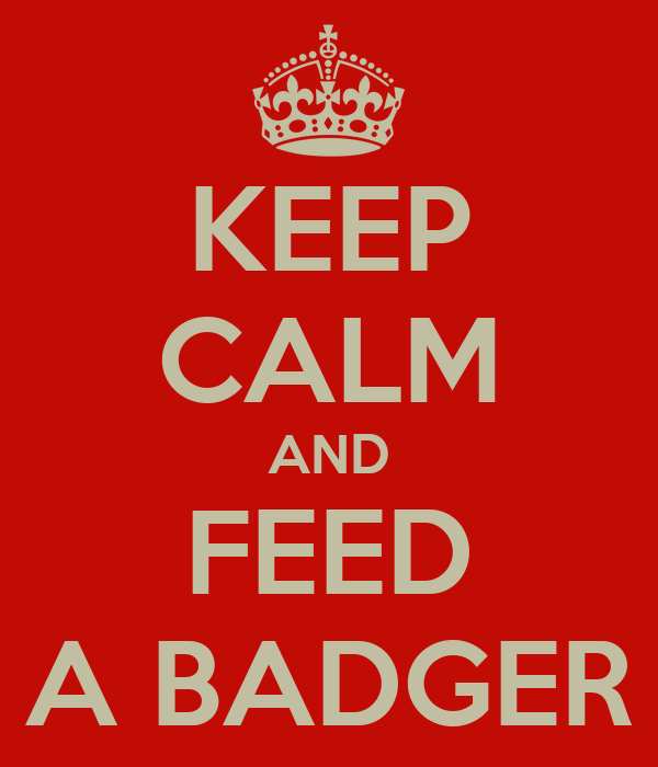 KEEP CALM AND FEED A BADGER