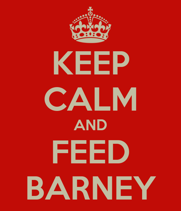 KEEP CALM AND FEED BARNEY