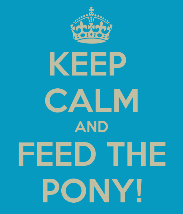 KEEP  CALM AND FEED THE PONY!