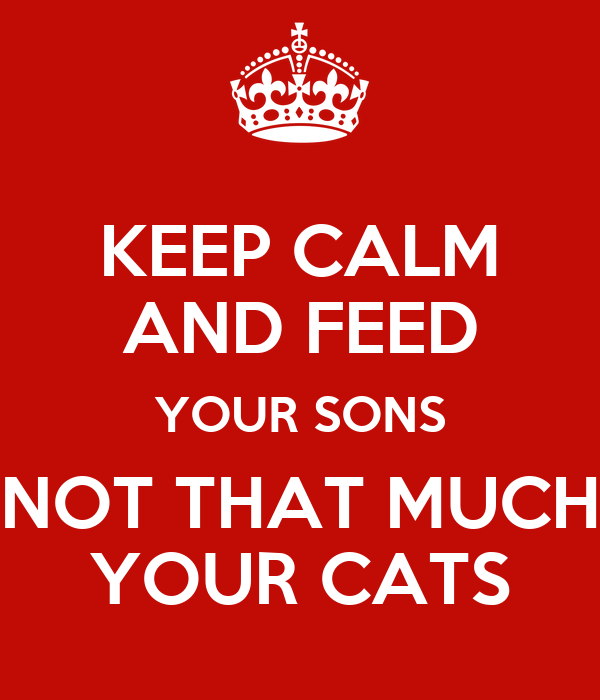 KEEP CALM   AND FEED   YOUR SONS NOT THAT MUCH YOUR CATS