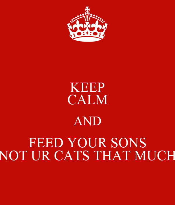 KEEP CALM AND FEED YOUR SONS NOT UR CATS THAT MUCH