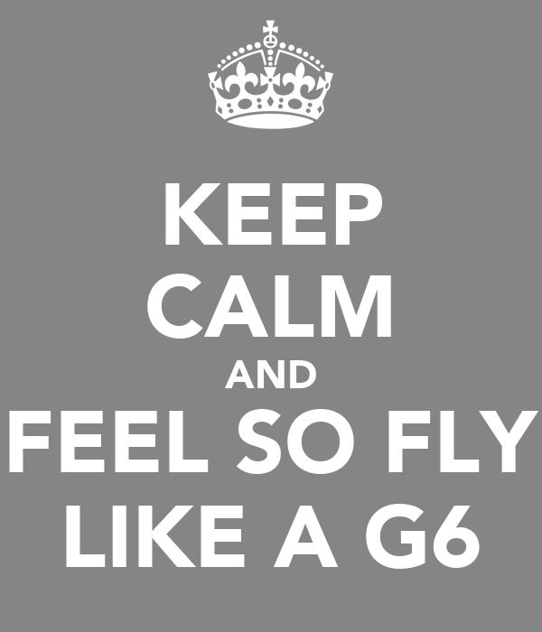 KEEP CALM AND FEEL SO FLY LIKE A G6