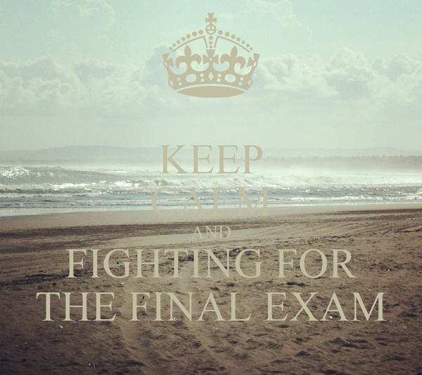 KEEP CALM AND FIGHTING FOR THE FINAL EXAM