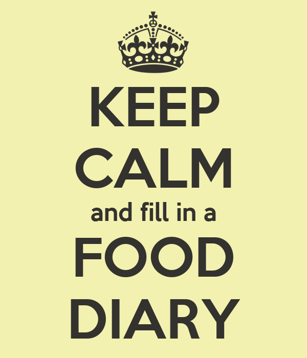 KEEP CALM and fill in a FOOD DIARY