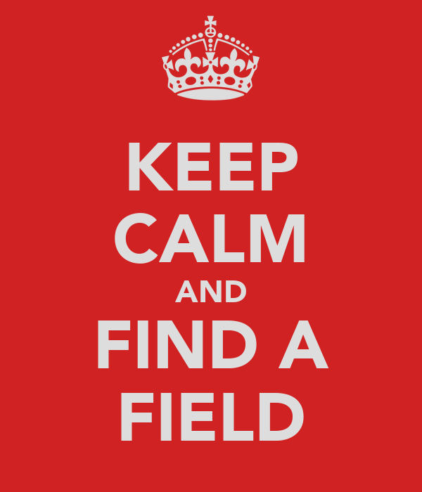 KEEP CALM AND FIND A FIELD