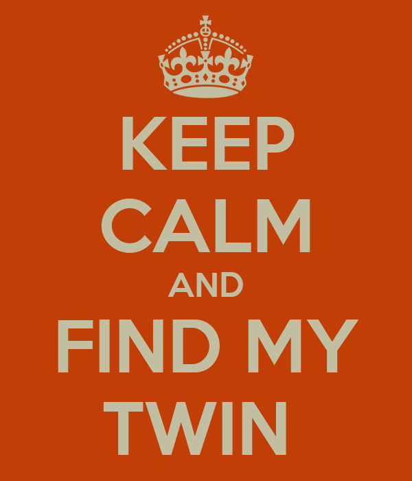 KEEP CALM AND FIND MY TWIN