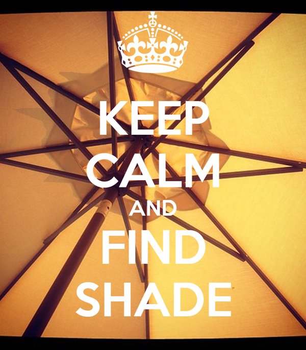 KEEP CALM AND FIND SHADE