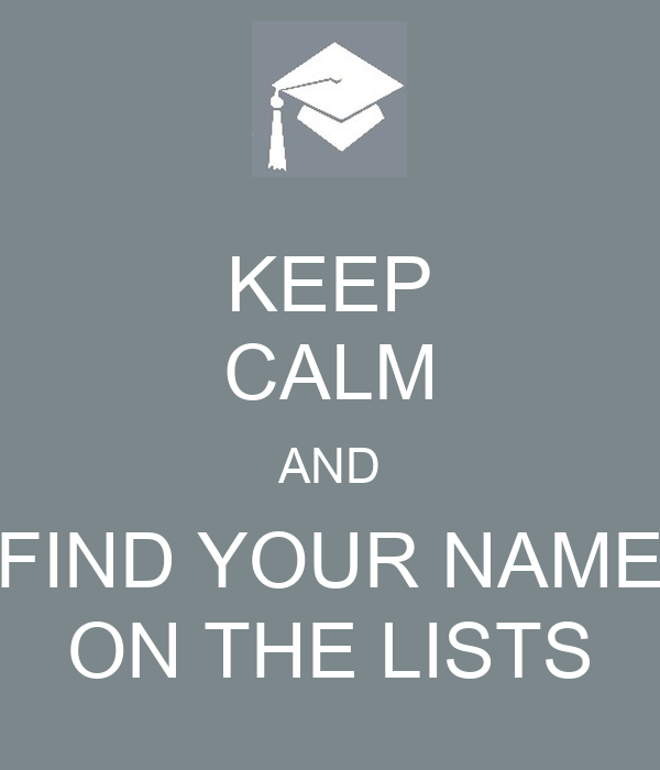 KEEP CALM AND FIND YOUR NAME ON THE LISTS