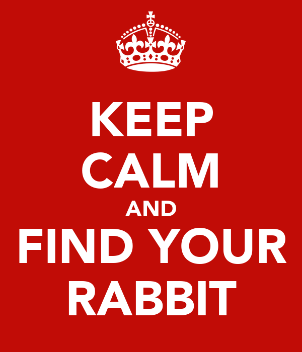 KEEP CALM AND FIND YOUR RABBIT