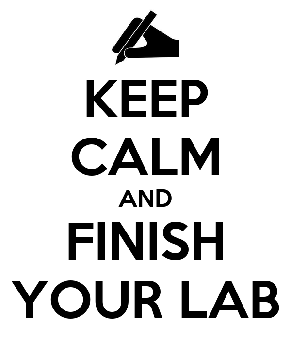 KEEP CALM AND FINISH YOUR LAB
