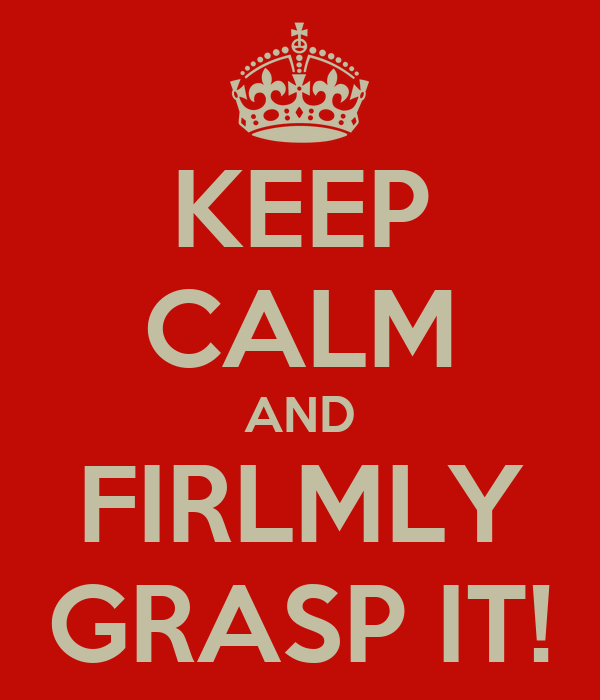 KEEP CALM AND FIRLMLY GRASP IT!