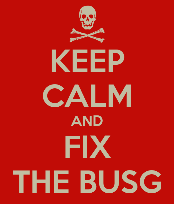KEEP CALM AND FIX THE BUSG