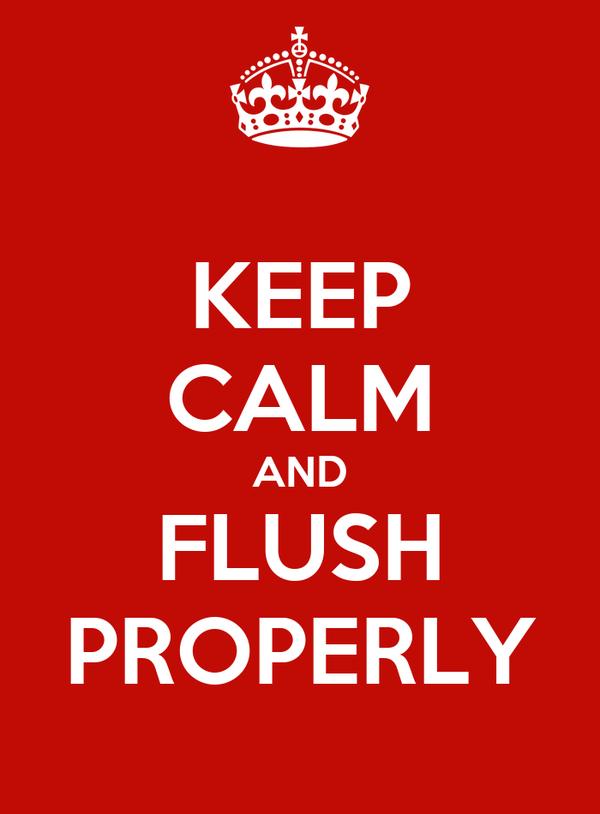 KEEP CALM AND FLUSH PROPERLY