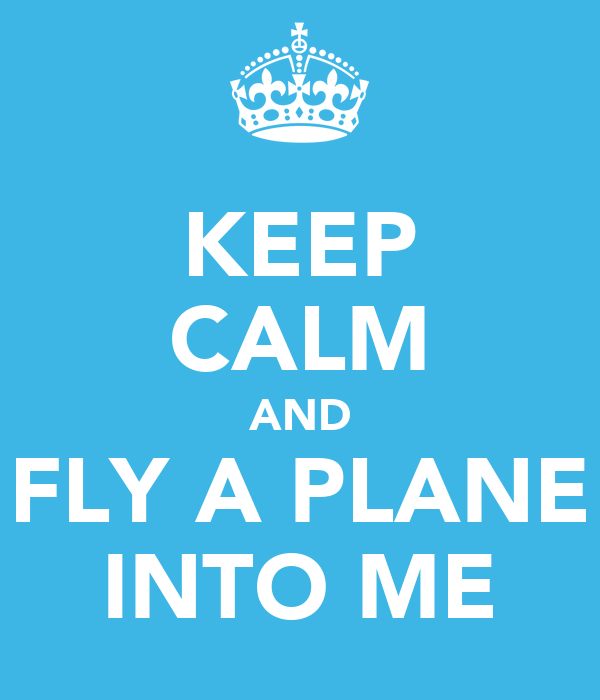 KEEP CALM AND FLY A PLANE INTO ME