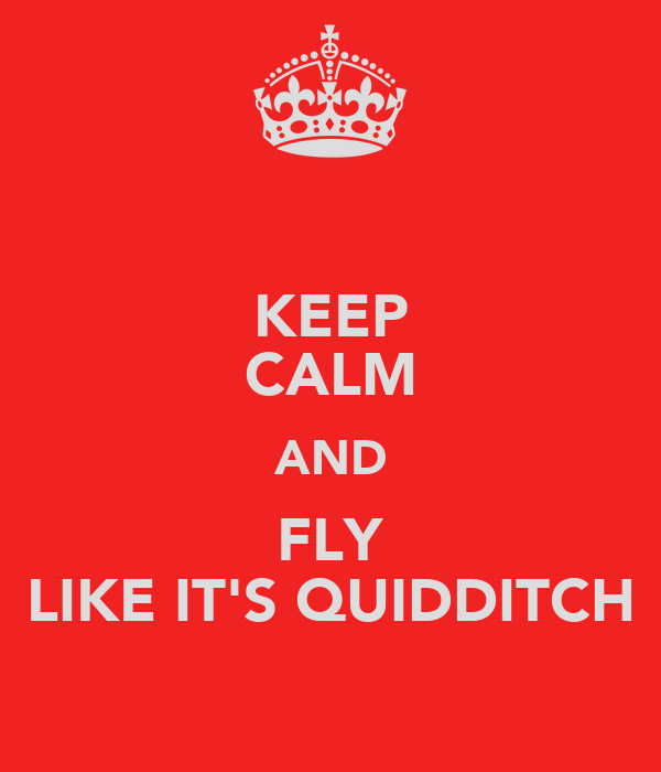 KEEP CALM AND FLY LIKE IT'S QUIDDITCH