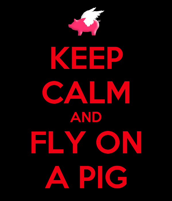 KEEP CALM AND FLY ON A PIG