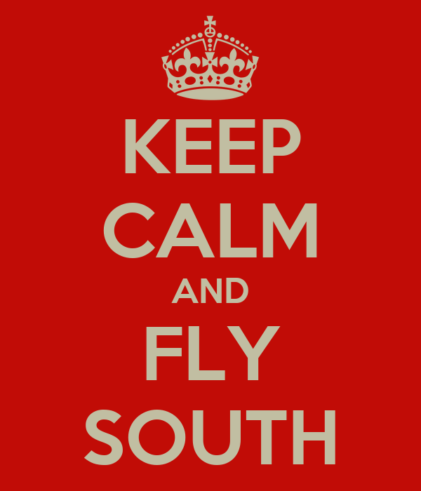 KEEP CALM AND FLY SOUTH
