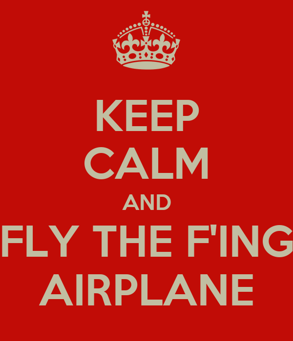 KEEP CALM AND FLY THE F'ING AIRPLANE
