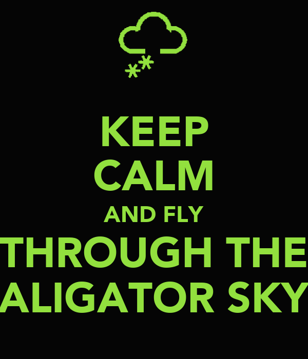 KEEP CALM AND FLY THROUGH THE ALIGATOR SKY