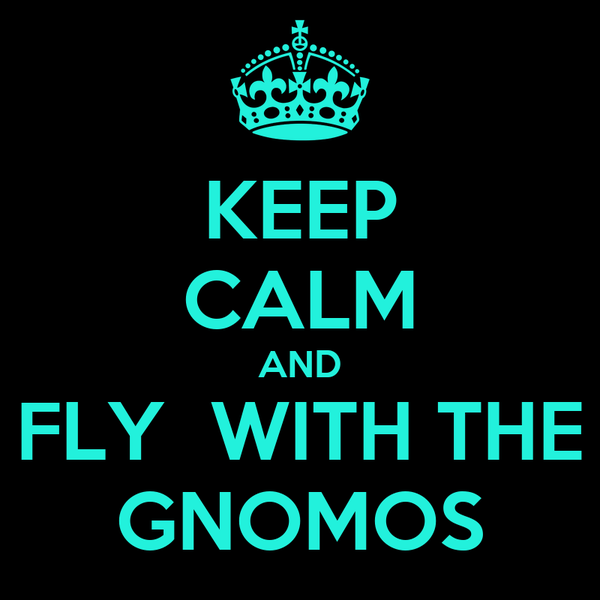 KEEP CALM AND FLY  WITH THE GNOMOS