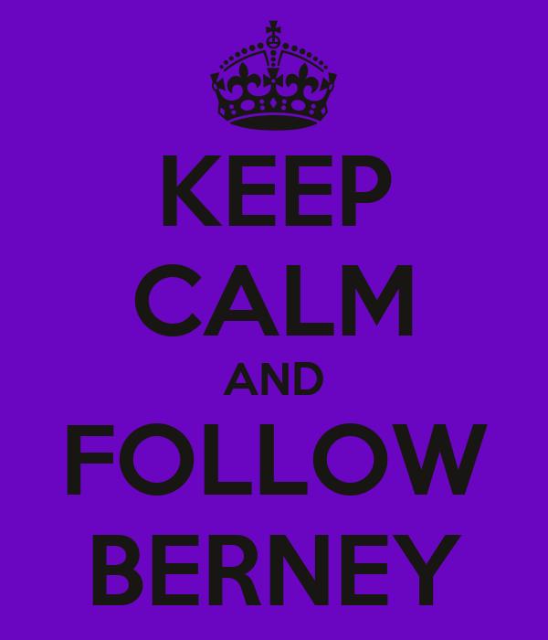 KEEP CALM AND FOLLOW BERNEY